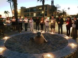 Candlelight Vigil Seal Statue 9-10-2014